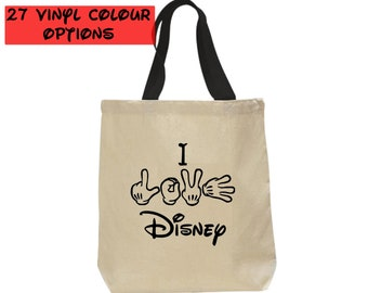 Custom I Love Disney Tote Bag | Disney Canvas Tote Bag | 27 Colours to Choose From
