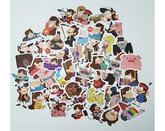 Gravity Falls Stickers | Vinyl Sticker for Laptop, Scrapbook, Phone, Luggage, Journal, Party Decoration | Assorted Stickers
