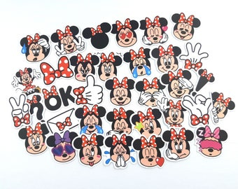 Minnie Mouse Stickers | Vinyl Sticker for Laptop, Scrapbook, Phone, Luggage, Journal, Party Decoration | Assorted Stickers