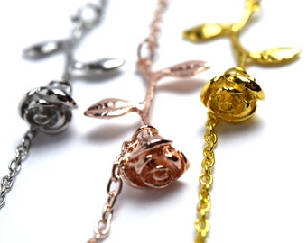 Gold, Silver and Rose Gold Rose Bracelets | Rose Jewelry | Flower Jewelry | Flower Bracelets | Beauty and the Beast Jewelry | Disney Jewelry