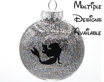 Little Mermaid Christmas Disc Ornament | Disney Christmas Tree Ornament | Little Mermaid  | Ariel Ursula Triton Flounder Sebastian