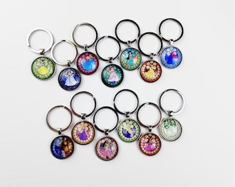 Stained Glass Princess Keychain | Disney Purse Charm | Gift for Disney Fan | Pendant Keyring Cruise Fish Extender | Ready to Ship