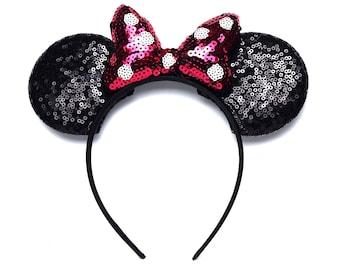 Fuchsia & Black Sequin Minnie Ears | Ready to Ship!