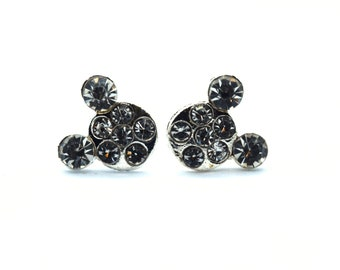 Rhinestone and Silver Mickey Mouse Earrings | Mickey Mouse Jewelry | Disney Jewelry | Disney Earrings | Mickey Earrings | Mickey Jewelry