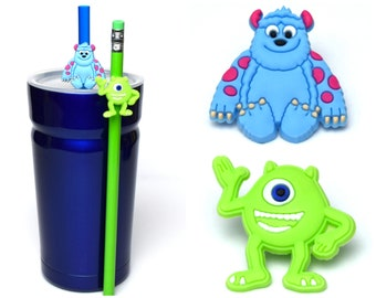 Monsters Inc. Straw Buddies | Sully & Mike Wazowski Pencil Topper | Ready to Ship!
