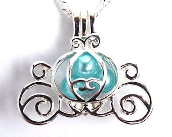 Silver Cinderella Coach Locket Necklace   Cinderella Necklace   Cinderella Jewelry   Cinderella Coach Necklace   Cinderella Carriage Jewelry