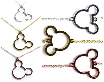 Mickey Mouse Necklace and Bracelet | Silver Mickey Mouse Jewelry | Gold Mickey Mouse Necklace | Rose Gold Mickey Mouse Bracelet | Disney