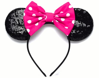 Hot Pink & White Sequin Minnie Ears | Ready to Ship!