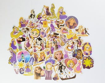 Tangled Stickers | Vinyl Sticker for Laptop, Scrapbook, Phone, Luggage, Journal, Party Decoration | Assorted Stickers