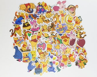 Winnie the Pooh Stickers | Vinyl Sticker for Laptop, Scrapbook, Phone, Luggage, Journal, Party Decoration | Assorted Stickers