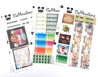 Muppets Monthly Planner Stickers | Erin Condren | For LifePlanners Organizers Journals Calendars | Kermit | Permanent and Removable