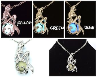 Glow in the Dark Silver Ariel Locket Necklace   Disney Necklace   Disney Jewelry   Little Mermaid Necklace   Ariel Jewelry   Ariel Necklace