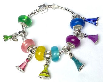 Disney Princess Dress Charm Bracelet | Tinkerbell | Sleeping Beauty | Belle | Elsa | Rapunzel | Anna | Take 15% Off | Disney Fan Gift