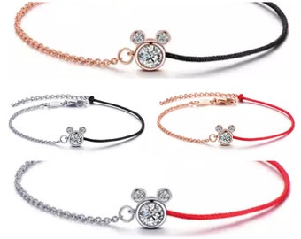 Silver and Rose Gold Rhinestone Mickey Mouse Bracelets | Disney Bracelets | Disney Jewelry | Mickey Mouse Jewelry | Silver Mickey Mouse