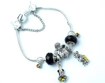 Silver Disney Charm Bracelet | Silver Mickey Charm Bracelet | Minnie Mouse Charm Bracelet | Silver Mickey Charm Bracelet | Disney Charms