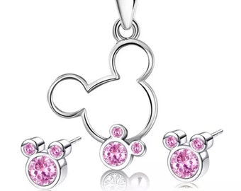 Mickey Mouse Necklace and Earrings | Pink and Silver Mickey Mouse Jewelry | Mickey Mouse Earrings | Disney Jewelry | Gift for Disney Fan