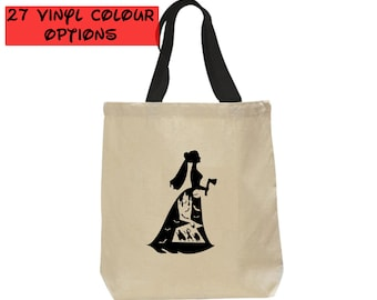 Custom Haunted Mansion Bride Tote Bag   Hitchhiking Ghosts Tote Bag   Disney Canvas Tote Bag   27 Colours to Choose From