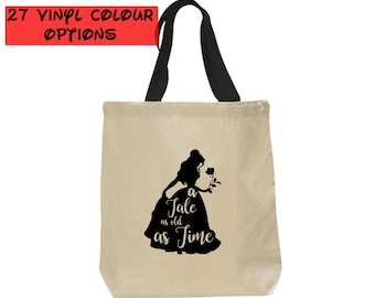 Custom Beauty and the Beast Tote Bag   Belle Tote Bag   Disney Canvas Tote Bag   27 Colours to Choose From