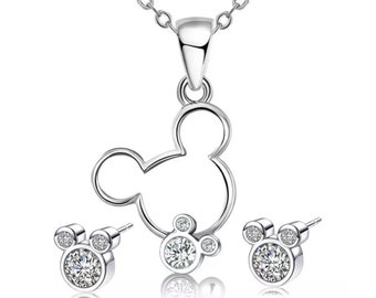 Mickey Mouse Necklace and Earrings | Silver Mickey Jewelry | Mickey Mouse Earrings | Disney Jewelry | Gift for Disney Fan | Ready to Ship