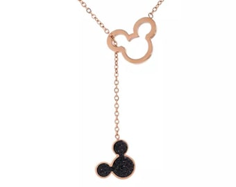 Rose Gold and Black Mickey Mouse Necklace | Mickey Necklace | Disney Jewelry | Disney Necklace | Gift for Disney Fan | Mickey Mouse Jewelry
