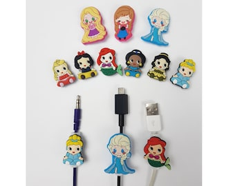 Disney Princess Cable Protectors   Belle   Cinderella   Ariel   Jasmine   Snow White   Aurora Sleeping Beauty   Android iPhone cables