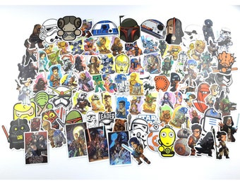 Star Wars Character Stickers | Vinyl Sticker for Laptop, Scrapbook, Phone, Luggage, Journal, Party Decoration | Assorted Stickers