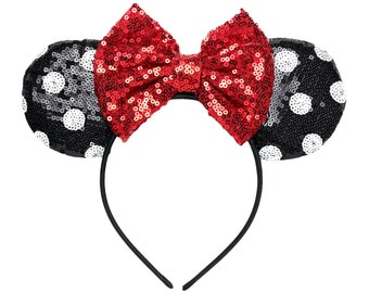 Black & White Polka Dot Minnie Ears   Ready to Ship!