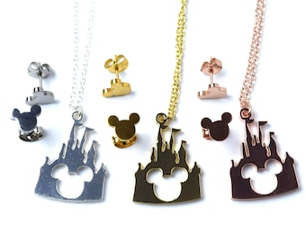 Disney Castle Necklace with Mickey Mouse Earrings   Gold Castle Necklace   Silver Castle Necklace   Rose Gold Castle Necklace   Gold Mickey