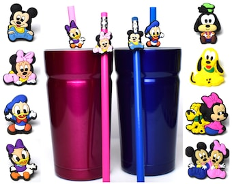 Baby Fab 6 Disney Straw Buddies | Mickey and Minnie Mouse | Pluto and Goofy | Donald and Daisy Duck Pencil Topper | Ready to Ship