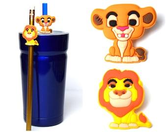 Lion King Straw Buddies   Simba & Mufasa Pencil Topper   Ready to Ship!