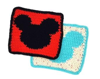 Hidden Mickey Dishcloth   Mickey Dish Cloth   Mickey Dishcloth   Disney Wash Cloth   Wash Cloth   Crochet Dishcloth   Cotton Dishcloth