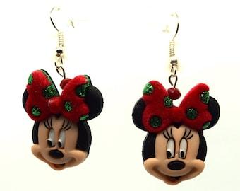 Minnie Mouse Christmas Earrings | Minnie Mouse Earrings | Christmas Disney Earrings | Disney Christmas Jewelry | Christmas Minnie Mouse