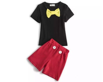 Child Mickey Mouse Outfit | Disney Costume | Disney World Vacation Cotton Shorts & T-Shirt | Disneyland Cosplay | Halloween Dress Up Clothes