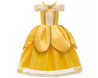 Child Beauty & the Beast Dress | Princess Belle Costume | Disney World Vacation Outfit | Disneyland Cosplay | Halloween Dress Up Clothes
