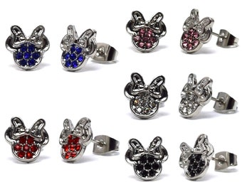 Silver Rhinestone Minnie Mouse Earrings   Minnie Mouse Studs   Minnie Earrings   Minnie Mouse Jewelry   Disney Jewelry   Disney Earrings
