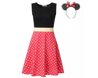 Adult Minnie Mouse Dress with Minnie Ears | Disney Costume | Disney World Vacation Outfit | Disneyland Cosplay | Halloween Dress Up Clothes