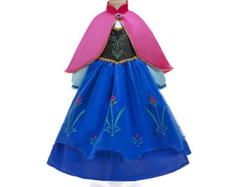 Child Anna Dress | Frozen Princess Costume | Disney World Vacation Outfit | Disneyland Cosplay | Halloween Dress Up Clothes | Let It Go