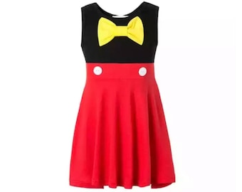 Child Mickey Mouse Dress | Disney Costume | Disney World Vacation Outfit | Disneyland Cosplay | Halloween Dress Up Clothes | Cotton Fabric