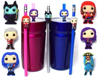 Disney Descendants & Maleficent Straw Buddies   Ready to Ship