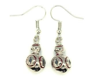 Silver Star Wars BB8 Earrings   Star Wars Earrings   BB8 Jewelry   Star Wars Jewelry   Galaxys Edge   Disney Earrings   Star Wars Droid