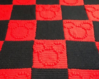 Red and Black Mickey Mouse Crochet Blanket   Hidden Mickey Blanket   Mickey Mouse Blanket   Mickey Blanket   Disney Blanket   Mickey Throw