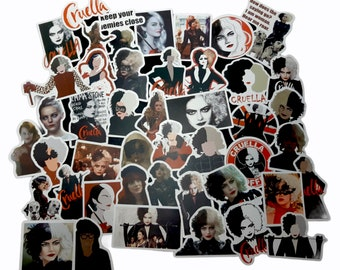 Cruella Stickers   Vinyl Sticker for Laptop, Scrapbook, Phone, Luggage, Journal, Party Decoration   Assorted Stickers