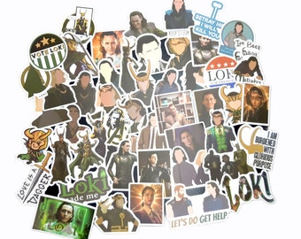 Loki Stickers   Vinyl Sticker for Laptop, Scrapbook, Phone, Luggage, Journal, Party Decoration   Assorted Stickers