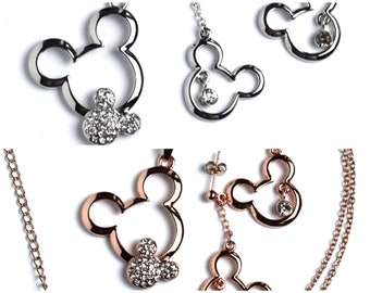 Mickey Mouse Necklace and Earrings | Rose Gold Mickey Mouse Jewelry | Silver Mickey Mouse Jewelry | Mickey Mouse Earrings | Disney Jewelry