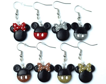Mickey and Minnie Drop Earrings | Gold, Silver, Rose Gold and Red Minnie and Mickey Earrings | Mickey Mouse Earrings | Minnie Mouse Earrings