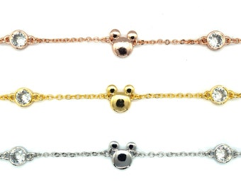 Gold, Silver and Rose Gold Rhinestone and Mickey Mouse Bracelets | Disney Bracelets | Mickey Mouse Jewelry | Disney Jewelry | Disney Gift