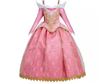 Child Sleeping Beauty Dress | Princess Aurora Costume | Disney World Vacation Outfit | Disneyland Cosplay | Halloween Dress Up Clothes