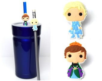 Frozen Straw Buddies   Elsa & Anna Pencil Toppers   Ready to Ship!