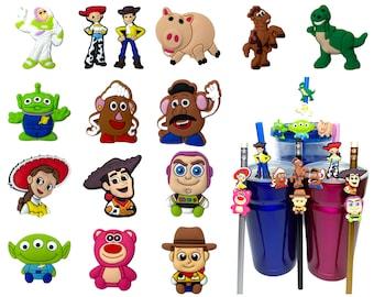 Toy Story Straw Buddies | Woody Straw Buddy | Disney Pencil Topper | Buzz Lightyear, Jessie, Rex, Hamm, Bullseye, Alien, Potatohead, Lotso