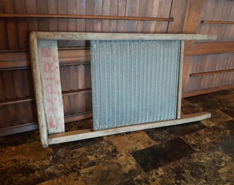 Antique wood and metal washboard